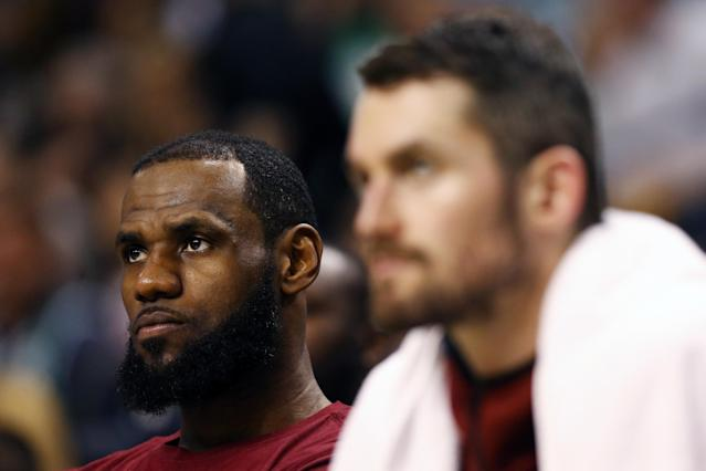 BOSTON, MA - MAY 13: LeBron James #23 of the Cleveland Cavaliers reacts from the bench in his teams loss to the Boston Celtics during the fourth quarter in Game One of the Eastern Conference Finals of the 2018 NBA Playoffs at TD Garden on May 13, 2018 in Boston, Massachusetts. The Boston Celtics defeated the Cleveland Cavaliers 108-83. (Photo by Maddie Meyer/Getty Images)