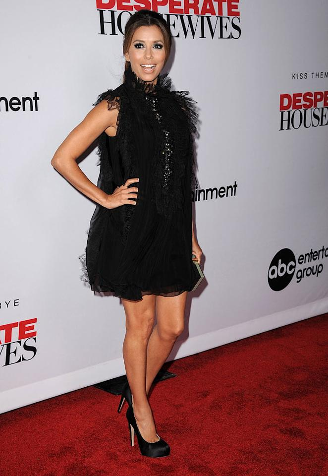 """She may be tied with Tina Fey as the highest paid actress on TV, but apparently Eva Longoria isn't the most fashionable star of the small screen. The """"Desperate Housewives"""" hottie -- who reportedly rakes in upwards of $13 million per year -- was overwhelmed while wearing this Muppet-like mess of a dress, courtesy of Alberta Ferretti -- to the final season kick-off party for her soon-to-depart nighttime soap. Steve Granitz/<a href=""""http://www.wireimage.com"""" target=""""new"""">WireImage.com</a> - September 21, 2011"""