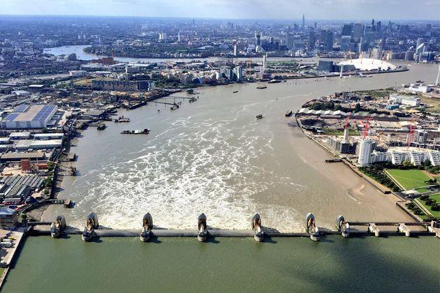 An aerial view of the Thames Barrier with closed gates (Photo: National Police Air Service/ gov.uk)