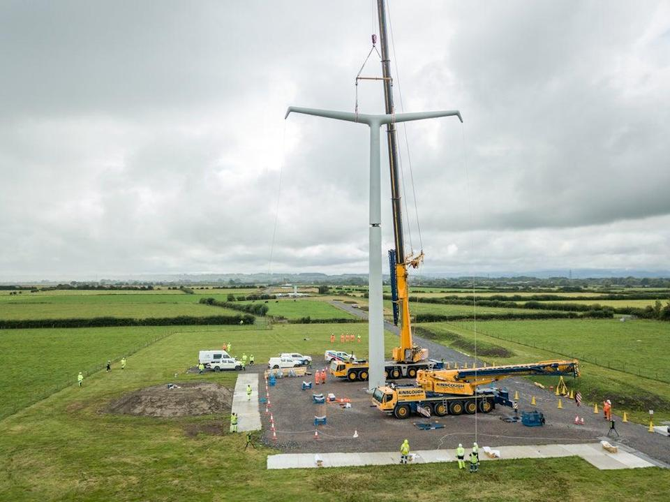 The first in a new design of electricity pylon has been erected in Somerset (National Grid/PA)