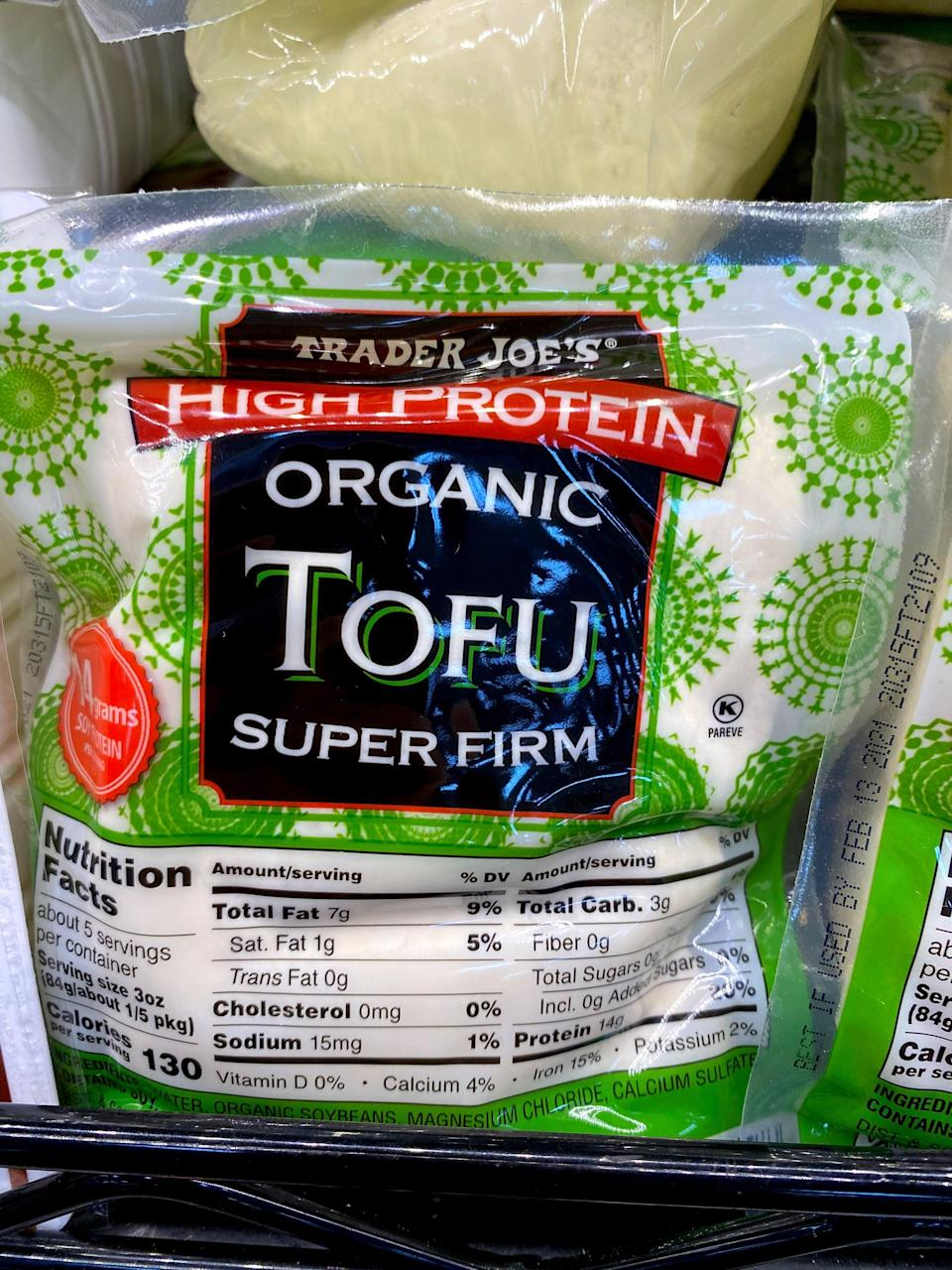 """<p>I've always loved tofu, but since getting an air fryer, my tofu game is on a whole new level. This High-Protein Super Firm Organic Tofu has such a dense, firm texture and is delicious simply sprinkled with garlic powder. It cooks up fast and is great paired with roasted veggies, used in a stir fry, <a href=""""https://www.popsugar.com/fitness/vegan-coconut-lentil-curry-with-tofu-broccoli-recipe-47100354"""" class=""""link rapid-noclick-resp"""" rel=""""nofollow noopener"""" target=""""_blank"""" data-ylk=""""slk:added to curry"""">added to curry</a>, or used as a ricotta substitute for <a href=""""https://www.popsugar.com/fitness/Vegan-Lasagna-42940523"""" class=""""link rapid-noclick-resp"""" rel=""""nofollow noopener"""" target=""""_blank"""" data-ylk=""""slk:vegan lasagna"""">vegan lasagna</a>.</p>"""