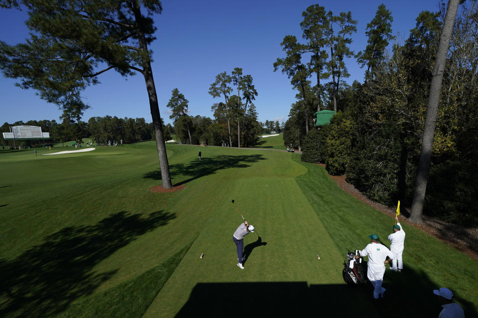 Sungjae Im, of South Korea, tees off on the 18th hole during the second round of the Masters golf tournament Friday, Nov. 13, 2020, in Augusta, Ga. (AP Photo/David J. Phillip)