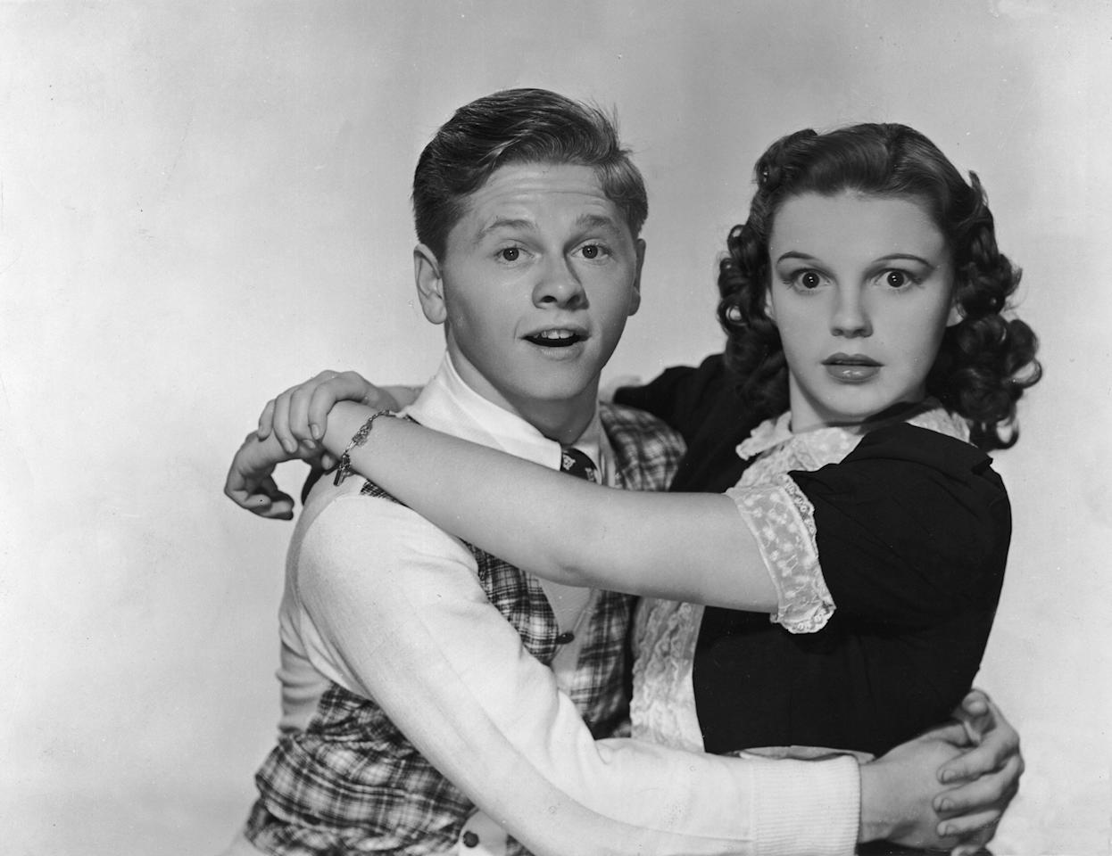 Rooney and Garland in a promotional photo for<em> Love Finds Andy Hardy</em> in 1938