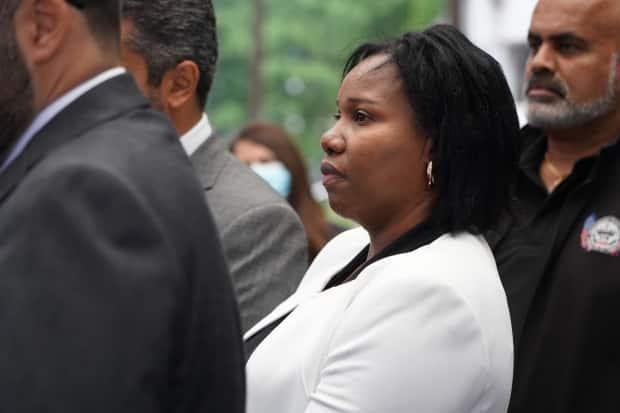 Aissatou Diallo walks to the Ottawa courthouse on Sept. 22, 2021. The 44-year-old OC Transpo driver was acquitted Wednesday on all 38 charges laid against her after a 2019 bus crash at Westboro station that killed three people and injured dozens more.                     (Francis Ferland/CBC - image credit)
