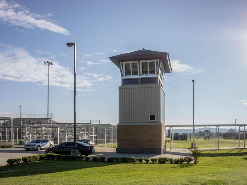 A prison guard tower at the entrance of the Death Row wing at The Louisiana State Penitentiary (Getty)