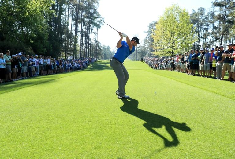 Jon Rahm of Spain plays his shot from the seventh tee during a practice round prior to the start of the 2017 Masters Tournament, at Augusta National Golf Club in Georgia, on April 4, 2017
