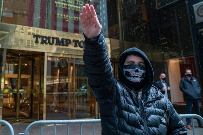 """One single person arrived at Trump Tower for a """"White Lives Matter"""" march and rally on April 11, 2021 in New York City. (Photo by David Dee Delgado/Getty Images)"""