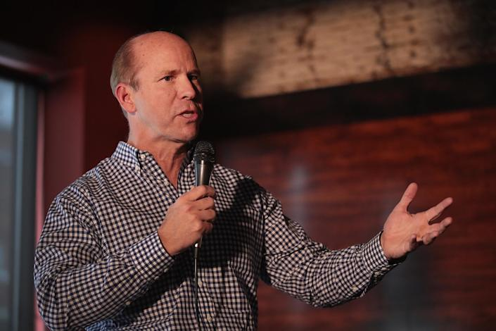 KNOXVILLE, IOWA - FEBRUARY 17: Former Maryland congressman John Delaney speaks to guests at the Marion County Democrats soup luncheon at the Peace Tree Brewing Company on February 17, 2019 in Knoxville, Iowa. Delaney is seeking the 2020 Democratic nomination for president.     (Photo by Scott Olson/Getty Images)