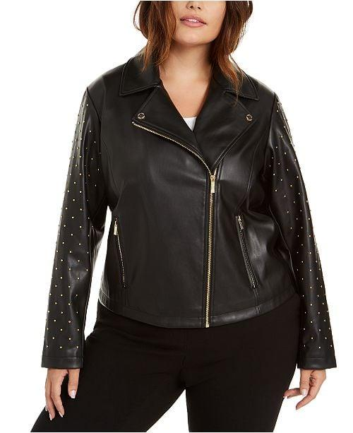 "<p>This <a href=""https://www.popsugar.com/buy/Calvin-Klein-Studded-Moto-Jacket-496275?p_name=Calvin%20Klein%20Studded%20Moto%20Jacket&retailer=macys.com&pid=496275&price=150&evar1=fab%3Aus&evar9=46699597&evar98=https%3A%2F%2Fwww.popsugar.com%2Ffashion%2Fphoto-gallery%2F46699597%2Fimage%2F46699603%2FCalvin-Klein-Studded-Moto-Jacket&list1=shopping%2Cfall%20fashion%2Cfall%2Cjackets%2Ccurve%2Cmacys%2Ccurve%20fashion&prop13=mobile&pdata=1"" rel=""nofollow"" data-shoppable-link=""1"" target=""_blank"" class=""ga-track"" data-ga-category=""Related"" data-ga-label=""https://www.macys.com/shop/product/calvin-klein-plus-size-studded-moto-jacket?ID=9982609&amp;CategoryID=46203"" data-ga-action=""In-Line Links"">Calvin Klein Studded Moto Jacket</a> ($150) will be such a fun pick to wear out at night.</p>"