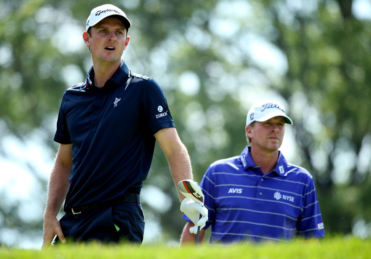 ARDMORE, PA - JUNE 15: (L-R) Justin Rose of England and Steve Stricker of the United States look on from the fourth tee during Round Three of the 113th U.S. Open at Merion Golf Club on June 15, 2013 in Ardmore, Pennsylvania.  (Photo by Andrew Redington/Getty Images)