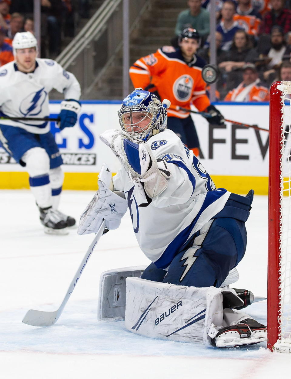 Tampa Bay Lightning goaltender Andrei Vasilevskiy (88) makes a save against the Edmonton Oilers during the second period of an NHL hockey game Saturday, Dec. 22, 2018, in Edmonton, Alberta. (Codie McLachlan/The Canadian Press via AP)