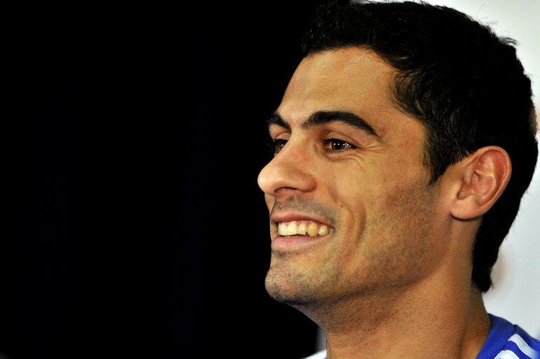 Greece's defender Nikos Spyropoulos smiles during a press conference in Durban on June 8, 2010
