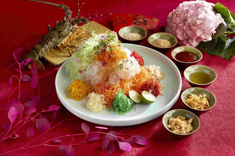 Raffles Hotel's prosperity yu sheng with Asian live lobster and Yunnan rose specialty dressing. Photo: Raffles Hotel