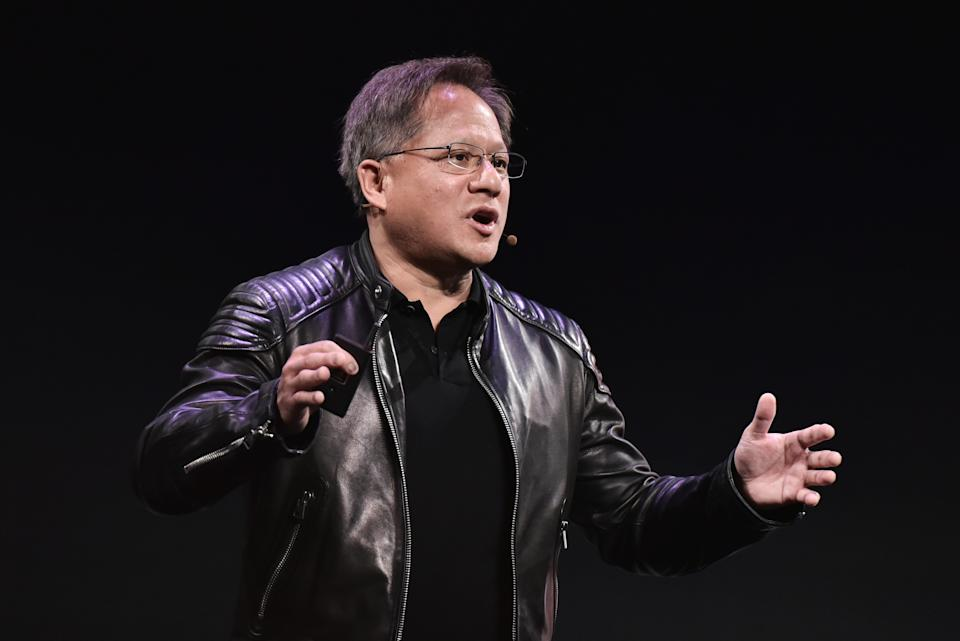 Nvidia CEO Jensen Huang speaks during a press conference at The MGM during CES 2018 in Las Vegas on January 7, 2018. / AFP PHOTO / Mandel Ngan        (Photo credit should read MANDEL NGAN/AFP via Getty Images)