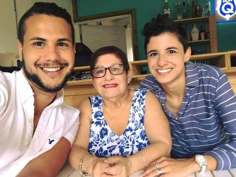 Samy Nemir Olivare (left) with his mother and sister.