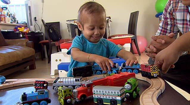 Enzo is not letting his condition get in the way of having fun. Photo: 7News.