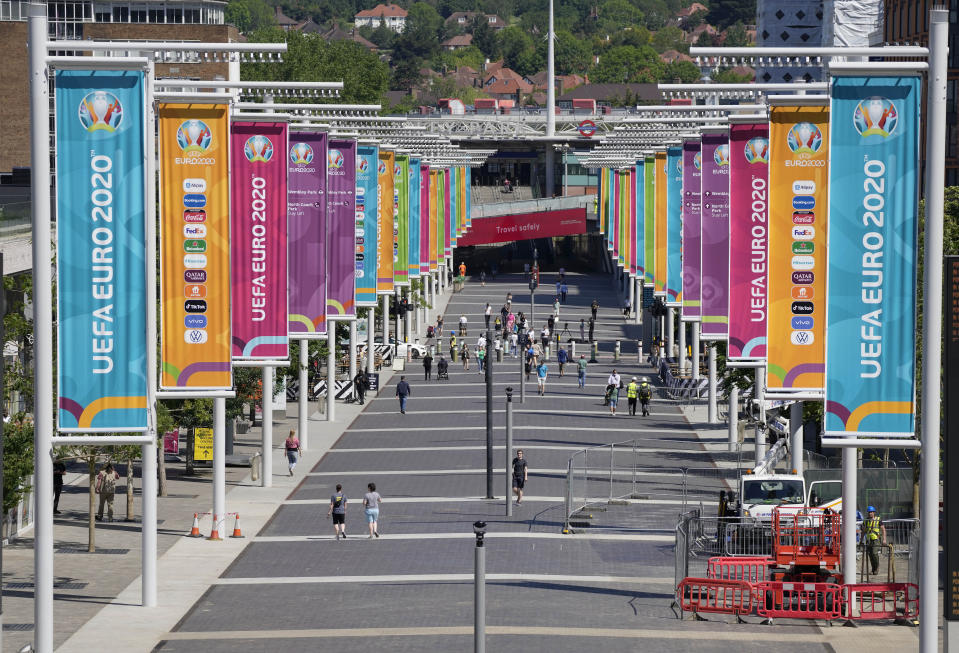 The entrance path to Wembley stadium, ahead of the upcoming Euro 2020 soccer championship in London, Wednesday, June 9, 2021. The Euro 2020 kicks off on Friday June 11 when Italy face Turkey in Rome. (AP Photo/Frank Augstein)