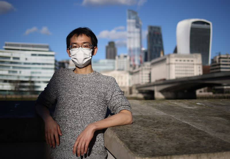 Aragorn, a Hong Kong citizen poses for a photograph in central London