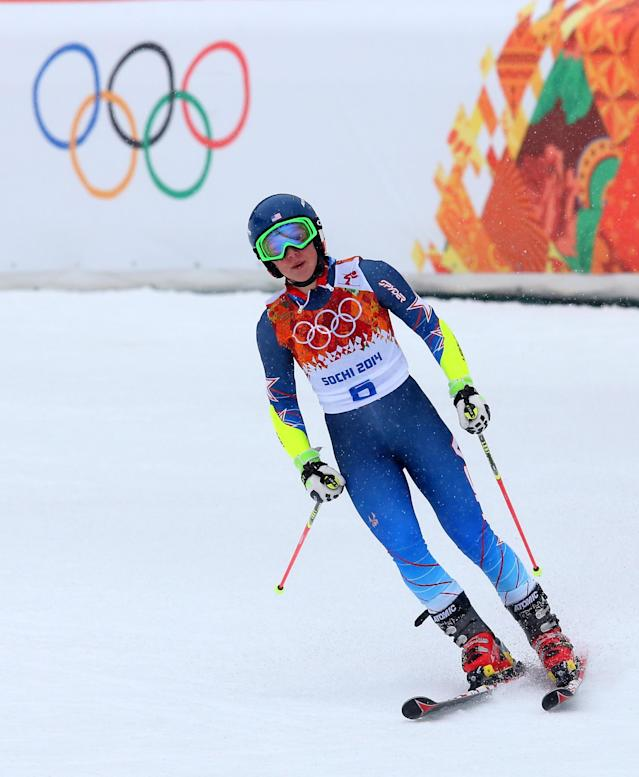 SOCHI, RUSSIA - FEBRUARY 18: Mikaela Shiffrin of the United States reacts after a run during the Alpine Skiing Women's Giant Slalom on day 11 of the Sochi 2014 Winter Olympics at Rosa Khutor Alpine Center on February 18, 2014 in Sochi, Russia. (Photo by Alexander Hassenstein/Getty Images)
