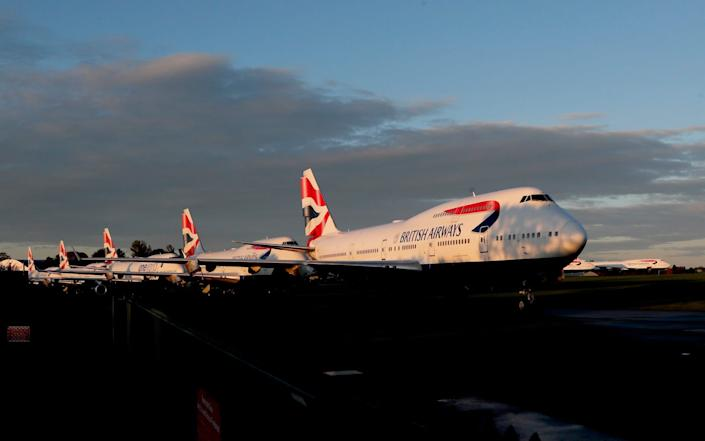 British Airways Boeing 747-400 parked at Cotsworld Airport in Kemble - AP