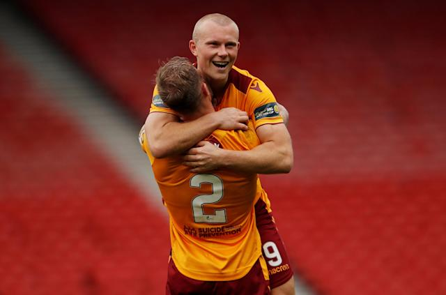 Soccer Football - Scottish Cup Semi-Final - Motherwell vs Aberdeen - Hampden Park, Glasgow, Britain - April 14, 2018 Motherwell's Curtis Main celebrates with Richard Tait after the match Action Images via Reuters/Lee Smith