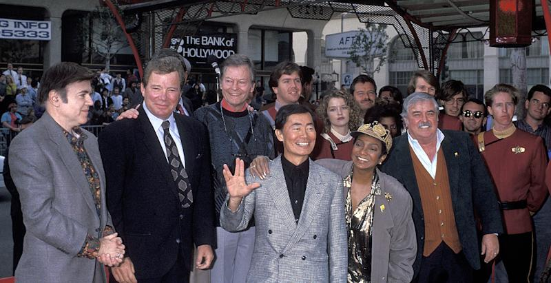 DeForest Kelley, James Doohan, George Takei, William Shatner, Leonard Nimoy, Nichelle Nichols and Walter Koenig (Photo by Ron Galella, Ltd./Ron Galella Collection via Getty Images)