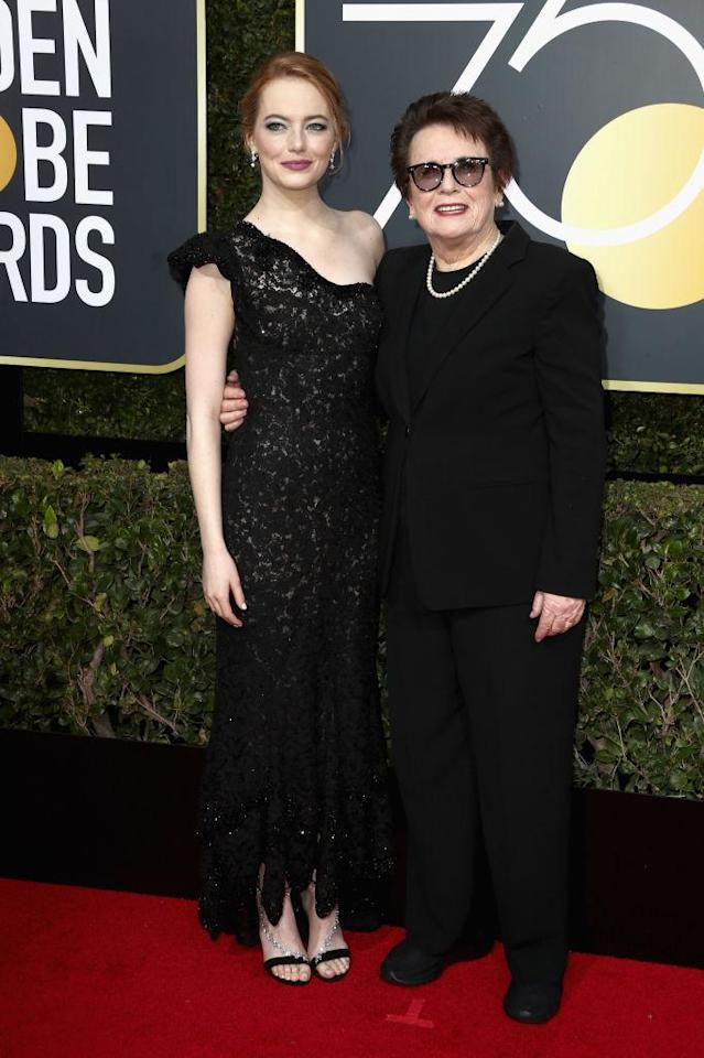 <p>Emma Stone and Billie Jean King, the tennis player Stone portrayed in <em>Battle of the Sexes</em>, attend the 75th Annual Golden Globe Awards at the Beverly Hilton Hotel in Beverly Hills, Calif., on Jan. 7, 2018. (Photo: Steve Granitz/WireImage) </p>