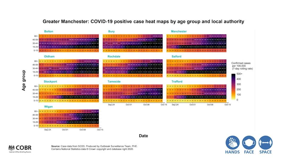 Government coronavirus data presented by Van-Tam at the No.10 briefing (Photo: UK government)