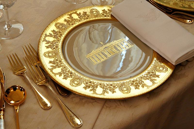 The Clinton china will be used for the state dinner in honor of French President Emmanuel Macron