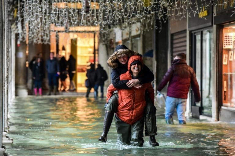 The heavy rains also flooded Venice again