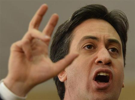 Britain's Labour Party opposition leader Miliband delivers a speech at a university in central London