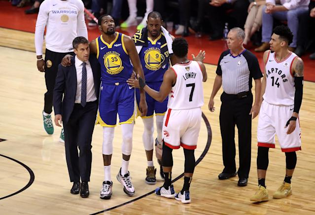 After suffering an Achilles injury in Game 5 on Monday night, Warriors star Kevin Durant took to Instagram. (Claus Andersen/Getty Images)