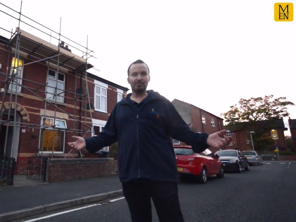 Couple arrive home from work to find mystery scaffolding covering their house