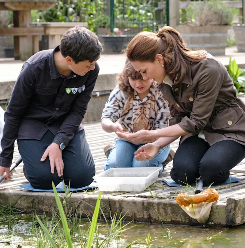 Kate joins in with pond dipping. [Photo: BBC]