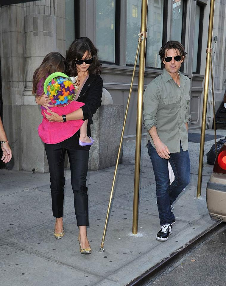 "Katie Holmes and Tom Cruise spent some quality time with their daughter Suri in the Big Apple. James Devaney/<a href=""http://www.wireimage.com"" target=""new"">WireImage.com</a> - September 6, 2010"