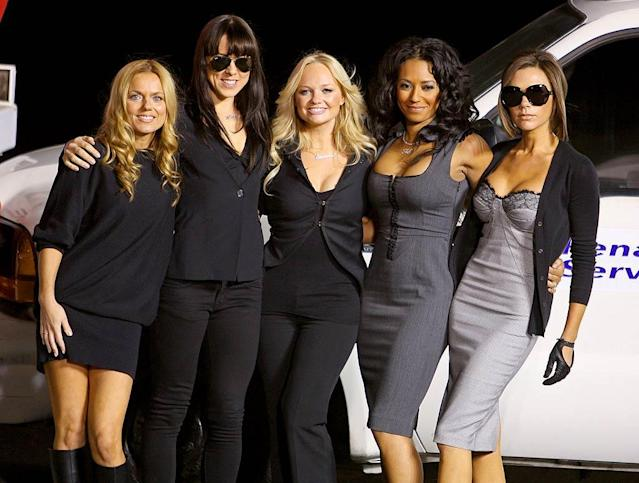 "The Spice Girls take a break from their demanding concert schedule to debut their new Virgin Atlantic private jet, ""Spice One,"" at Los Angeles International Airport. John Shearer/<a href=""https://ec.yimg.com/ec?url=http%3a%2f%2fwww.wireimage.com%26quot%3b&t=1524285102&sig=sb4fN.UNvwmu1MqgJBQPBA--~D rel=""nofollow noopener"" target=""_blank"" data-ylk=""slk:WireImage.com"" class=""link rapid-noclick-resp"">WireImage.com</a> - December 12, 2007"