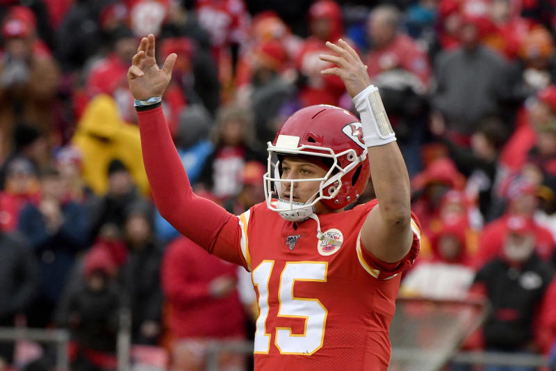 Kansas City Chiefs quarterback Patrick Mahomes (15) celebrates following an NFL football game against the Los Angeles Chargers in Kansas City, Mo., Sunday, Dec. 29, 2019. Kansas City Chiefs won 31-21. (AP Photo/Ed Zurga)