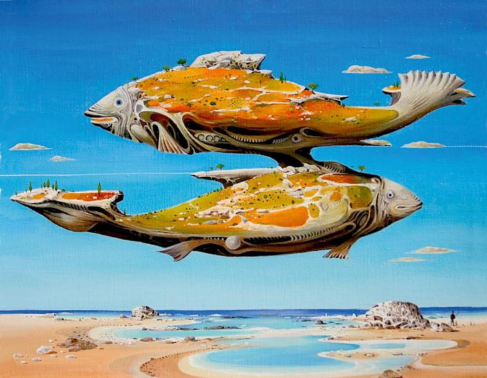 """A surreal image of fish floating in air from """"Astrology: The Library of Esoterica."""" Vasko Taškovski, Pisces, Macedonia 1998."""