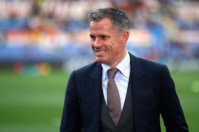 Jamie Carragher during the UEFA Champions League Semi Final Second Leg match between A.S. Roma and Liverpool at Stadio Olimpico on May 2, 2018 in Rome, Italy.