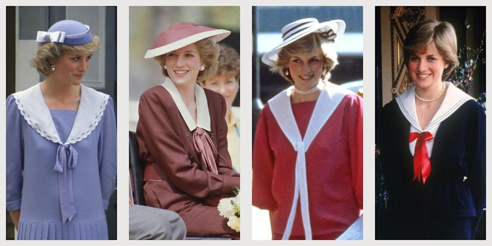 """<p class=""""body-dropcap"""">The British royal family didn't just perfect the art of wearing sailor suit-inspired styles—they invented it. The first-ever such piece dates back to the 19th century, when <a href=""""https://www.townandcountrymag.com/society/tradition/a14510744/queen-victoria-facts/"""" rel=""""nofollow noopener"""" target=""""_blank"""" data-ylk=""""slk:Queen Victoria"""" class=""""link rapid-noclick-resp"""">Queen Victoria</a> dressed her eldest son, Prince Albert Edward, in a suit inspired by the uniforms worn by the Royal Navy. In the decades to come, it would become a staple for British nobles of all ages—including for none other than <a href=""""https://www.townandcountrymag.com/style/fashion-trends/g22617779/princess-diana-fashion/"""" rel=""""nofollow noopener"""" target=""""_blank"""" data-ylk=""""slk:Princess Diana, one of the most indelible royal style icons"""" class=""""link rapid-noclick-resp"""">Princess Diana, one of the most indelible royal style icons</a>. Below, check out 10 of the Princess of Wales's most memorable sailor dress outfits.</p>"""