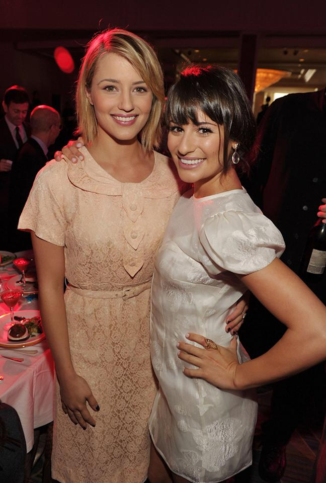 """Despite looking incredibly dowdy in their ensembles, """"Glee"""" girls Dianna Agron and Lea Michele were all smiles at the soiree. John Shearer/<a href=""""http://www.wireimage.com"""" target=""""new"""">WireImage.com</a> - September 23, 2011"""