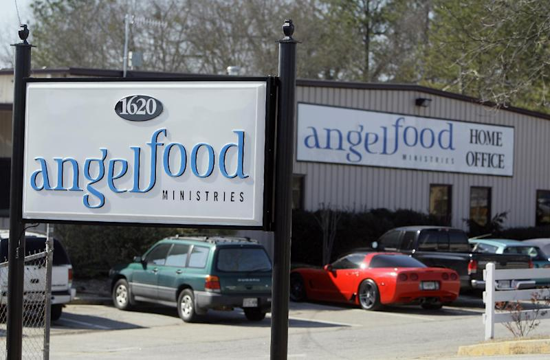 File - In this March 5, 2009 file photo, the offices of Angel Food Ministries in Monroe, Ga., are shown. The leaders of a Georgia-based ministry that provided discounted groceries to needy families across the U.S. have been indicted. A 49-count federal indictment was filed Tuesday, Nov. 29, 2011, against  Pastors Linda and Joe Wingo, the two founders of Angel Food Ministries, their son , Andrew Wingo, and another employee, and includes charges of fraud, wire fraud and conspiracy to commit money laundering. (AP Photo/John Bazemore, File)