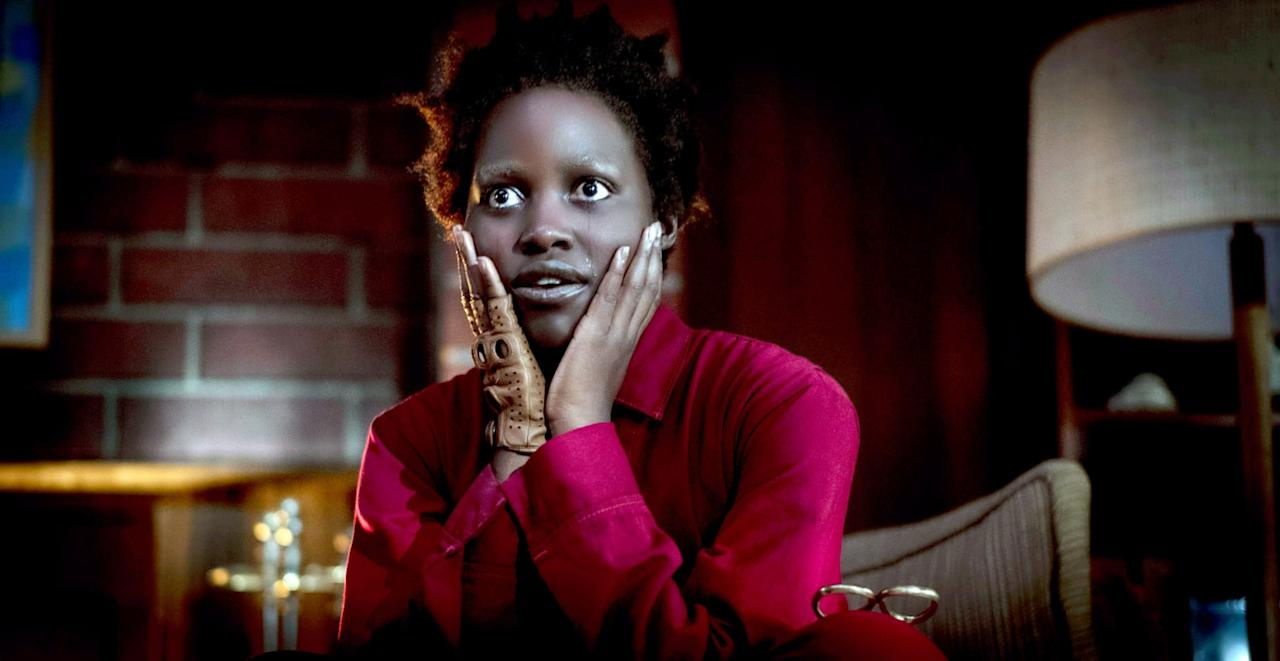 "<p>Lupita Nyong'o leads Jordan Peele's sophomore film as Adelaide, a woman who discovers that her family (and the rest of the world) has underground doppelgängers called the <a href=""https://www.popsugar.com/entertainment/Lupita-Nyongo-Compares-Us-Tethered-White-Walkers-46082854"" target=""_blank"" style=""background-color: rgb(255, 255, 255);"" class=""ga-track"" data-ga-category=""Related"" data-ga-label=""https://www.popsugar.com/entertainment/Lupita-Nyongo-Compares-Us-Tethered-White-Walkers-46082854"" data-ga-action=""In-Line Links"">Tethered</a>.  Thematically, <strong>Us </strong>is fairly different from <strong>The Invisible Man</strong>, but both films do deal with how the lead characters process <a href=""https://www.popsugar.com/entertainment/Us-Movie-Ending-Explained-45942652"" target=""_blank"" style=""background-color: rgb(255, 255, 255);"" class=""ga-track"" data-ga-category=""Related"" data-ga-label=""https://www.popsugar.com/entertainment/Us-Movie-Ending-Explained-45942652"" data-ga-action=""In-Line Links"">trauma</a>. (Plus, <a class=""sugar-inline-link ga-track"" title=""Latest photos and news for Elisabeth Moss"" href=""https://www.popsugar.co.uk/Elisabeth-Moss"" target=""_blank"" data-ga-category=""Related"" data-ga-label=""https://www.popsugar.co.uk/Elisabeth-Moss"" data-ga-action=""&lt;-related-&gt; Links"">Elisabeth Moss</a> <a href=""https://www.popsugar.com/entertainment/Who-Plays-Kitty-Us-Movie-45949134"" class=""ga-track"" data-ga-category=""Related"" data-ga-label=""http://www.popsugar.com/entertainment/Who-Plays-Kitty-Us-Movie-45949134"" data-ga-action=""In-Line Links"">stars in <strong>Us</strong></a> as well!) </p> <p><a href=""https://www.hbo.com/movies/us"" target=""_blank"" style=""background-color: rgb(255, 255, 255);"" class=""ga-track"" data-ga-category=""Related"" data-ga-label=""https://www.hbo.com/movies/us"" data-ga-action=""In-Line Links"">Watch <strong>Us </strong>on HBO.</a></p>"