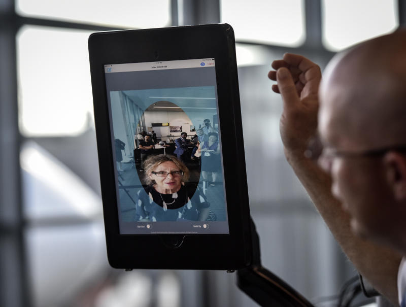 Dulles airport officials unveil new biometric facial recognition scannsers in Dulles, VA.