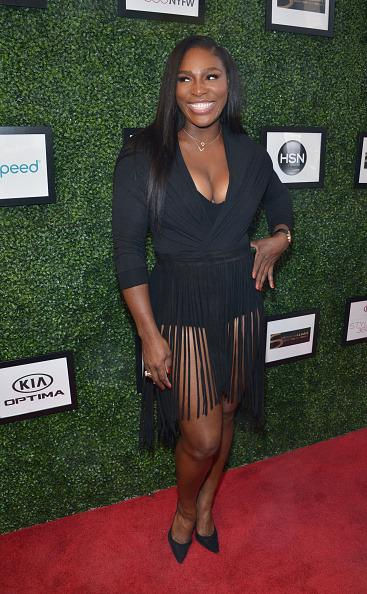 <p>Serena wore a funky black tassel dress to Style360's Spring event. <i>[Photo:Grant Lamos IV/Getty Images]</i></p>