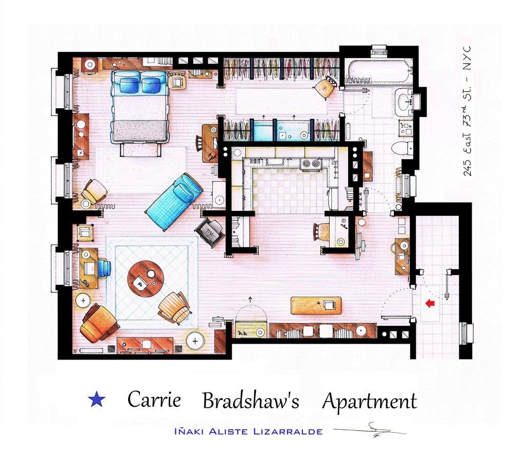"You can almost see Carrie Bradshaw working on her column in the floor plan for the ""Sex and the City"" character's Upper East Side apartment. (Note the full closet)."