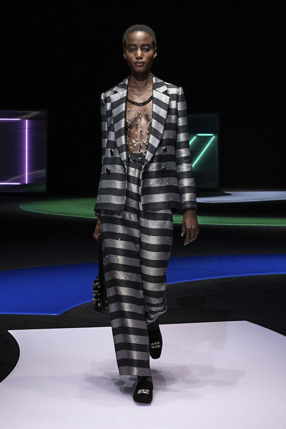 <p>Emporio Armani's autumn/winter 2021 'In The Mood For Pop' collection celebrated all things 1980s, an era which saw a burst of creativity, something which the designer hopes is what we are all about to experience in the post-pandemic world. </p>