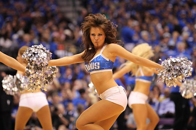DALLAS, TX - MAY 17: A Dallas Mavericks dancer performs in the first half as the Mavericks take on the Oklahoma City Thunder in Game One of the Western Conference Finals during the 2011 NBA Playoffs at American Airlines Center on May 17, 2011 in Dallas, Texas. NOTE TO USER: User expressly acknowledges and agrees that, by downloading and or using this photograph, User is consenting to the terms and conditions of the Getty Images License Agreement. (Photo by Ronald Martinez/Getty Images)
