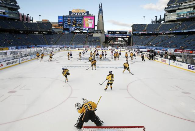 The Boston Pride (in yellow) feature seven players from the United States women's hockey team. (AP Photo)