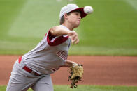 Sioux Falls, S.D.'s Maddux Munson (21) delivers during the first inning of a baseball game against Hamilton, Ohio at the Little League World Series in South Williamsport, Pa., Saturday, Aug. 28, 2021. (AP Photo/Gene J. Puskar)